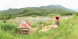 Girl exercising yoga on rice fields in mountains on Flores royalty free stock photo