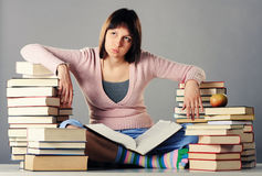 Girl exhausted from studying Stock Photography