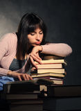 Girl exhausted from studying. Similar pictures on my portfolio Royalty Free Stock Photos