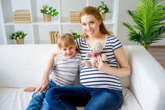 Girl expecting a sister Stock Photography