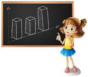Girl explaining barchart on the board Royalty Free Stock Image
