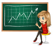 A girl explaining the graph while sitting down Royalty Free Stock Photos