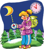 Girl Explorer looking at her compass. In the woods Royalty Free Stock Photos