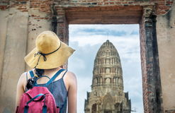Girl exploring ancient Ayutthaya city in Thailand Royalty Free Stock Image