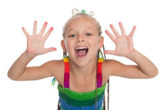 Girl with exposed arms forward. Playful girl with exposed arms forward. Girl is six years old Royalty Free Stock Image