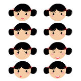 Girl expresion icons Royalty Free Stock Photo