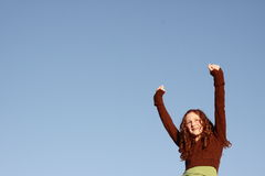 Girl expressing excitement Stock Images