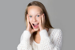 Girl expressing excitement Stock Photography