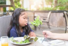 Girl with expression of disgust against vegetables stock photography
