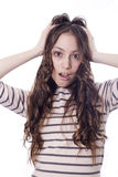 Girl with the expression face Royalty Free Stock Photo
