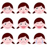 Set Girl expressions emotion isolated. Girl Expressions. Funny cartoon and character. Eps file available Royalty Free Stock Photography