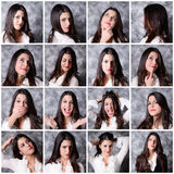 Girl expressions. Many  expressions of long hair brunette girl Royalty Free Stock Photo