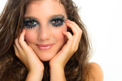 Girl with extreme makeup on white Royalty Free Stock Photography