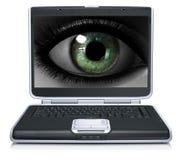 Girl eye on laptop screen isolated on a white Stock Photos