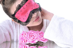 Girl  with eye mask Royalty Free Stock Photos
