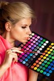 Girl with eye shadow for make-up Royalty Free Stock Image