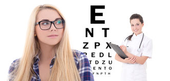 Girl in eyeglasses and female doctor ophthalmologist isolated on Royalty Free Stock Photography