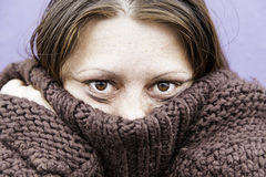 Girl with eyes beaten Stock Images