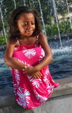 Girl With Eyes Closed By Fountains Stock Image