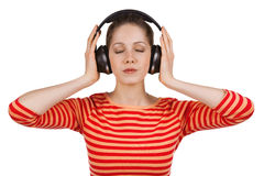 Girl, eyes closed, listening to music Stock Photos