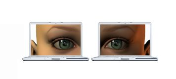 Girl eyes on a laptop screens isolated on a white Stock Images