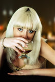 Girl eyes wine Stock Photos