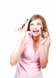 The girl with eyeshadow Royalty Free Stock Photography