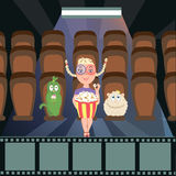 Girl with fabulous creatures in the movie theater. Vector Royalty Free Stock Photo