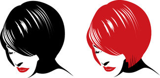 Girl face. Beautiful girl face, vector illustration. Red, black and white Royalty Free Stock Photos