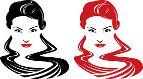 Girl face. Beautiful girl face, vector illustration. Red, black and white Stock Photography