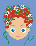 Girl face. Illustration with fruits and flowers in her hair Stock Photos