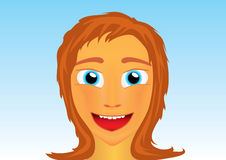 Girl face. Funny cartoon redhead girl face in anime style over blue sky Stock Photos