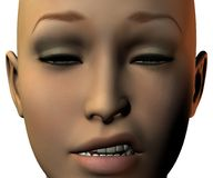 Girl face in 3D with emotion Royalty Free Stock Image