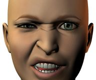 Girl face in 3D with emotion Stock Photos