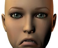 Girl face in 3D with emotion. Isolated on white Royalty Free Stock Photography