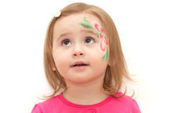 Girl with face-art. Little girl with face-art isolated on white Royalty Free Stock Photography
