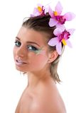 Girl with face-art butterfly paint Stock Photography