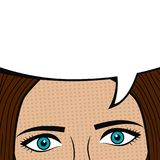Girl face with blank speech bubble for text. Woman eyes. Design of comic book page. Cartoon sketch in pop art style. Vector. Girl face with blank speech bubble Stock Image
