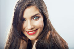 Girl face close up. Beauty young woman isolated portrait. Royalty Free Stock Images