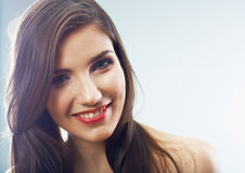 Girl face close up. Beauty young woman isolated portrait. Royalty Free Stock Photos