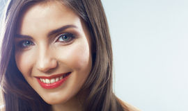 Girl face close up. Beauty young woman  portrait. Royalty Free Stock Photo