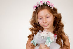The girl face close up with a bouquet stock images