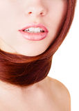 Girl face close-up with hair Royalty Free Stock Photography
