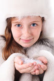 Girl face closeup with snow Royalty Free Stock Photography