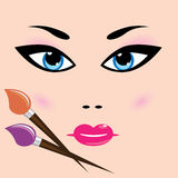 Girl face and cosmetic Royalty Free Stock Images