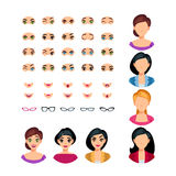 Girl Face Emotions Constructor. With eyes mouths glasses of different expressions isolated vector illustration Stock Photography