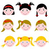 Girl Face Expressions Set. Illustration featuring a set of nine kids face isolated on white background. Eps file is available Royalty Free Stock Image