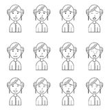 Girl face expressions, set collection. Girl face expressions, flat outline style, vector illustration, set collection Stock Photo