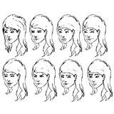 Girl face expressions sketches. Vector Stock Photos