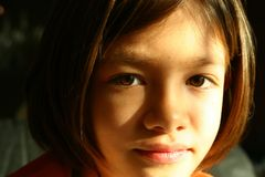 Girl face - expressive eyes Stock Photo
